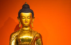 Buddha Shakyamuni, a statue in the altar at Lolland